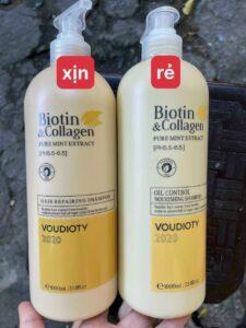 Bộ dầu gội Biotin Collagen trắng thật giả